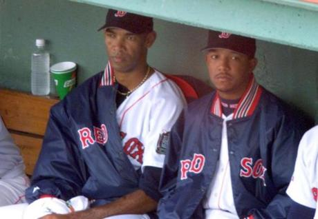 Boston 10/9/99- Fenway Park Game 3 Sox vs. Indians- Starting Sox pitcher Ramon Martinez(l) sits in the Sox dugout ith his younger brother Pedro during the game. Library Tag 10101999 Sports - Playoffs '99