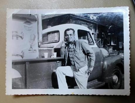 A 1956 photo showed Allan Ganz with a GMC truck and icebox in the bed with dry ice.