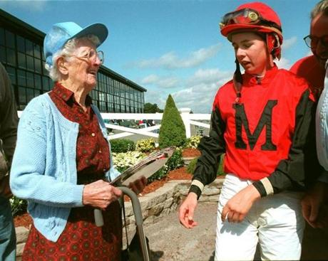 Ms. Jellison gave her first-place trophy to an adoring fan at Suffolk Downs in 1996.
