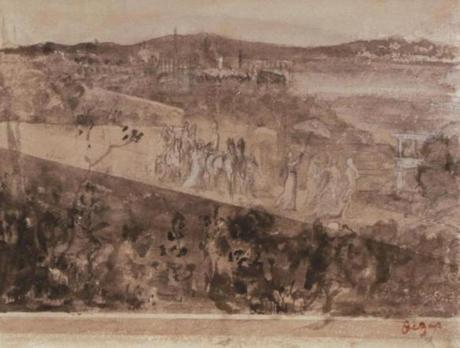 Artwork stolen in Isabella Stewart Gardner Museum heist--Degas, ÒCortege aux Environs de FlorenceÓ: Stolen from the Short Gallery. Pencil and wash on paper, 16 x 21 cm. (FBI)