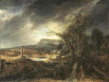 Artwork stolen in Isabella Stewart Gardner Museum heist-- Govaert Flinck, ÒLandscape with An ObeliskÓ: Stolen from the Dutch Room. Oil on an oak panel, 54.5 x 71 cm. Inscribed faintly at the foot on the right; R. 16.8 (until recently this was attributed to Rembrandt). (FBI)