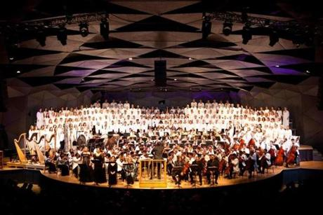 "Lenox, MA -- 08/08/15 -- The Tanglewood Music Center celebrated it's 75th anniversary with a gala, and performance of Mahler's Symphony No 8, ""Symphony of a Thousand,"" conducted by BSO Music Director Andris Nelsons. (Kayana Szymczak for the Boston Globe)"