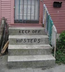 A hand-painted warning on the steps of a home in the Bywater section of New Orleans is allegedly intended for patrons of a nearby bar.