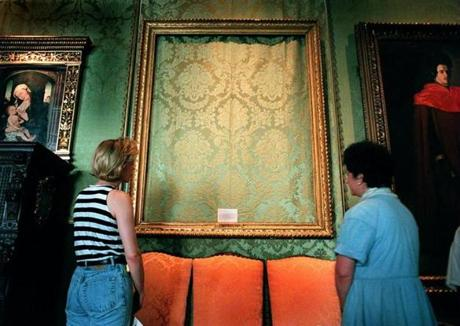 "An empty frame where Rembrandt's ""The Storm on the Sea of Galilee"" was stolen from the Isabella Stewart Gardner Museum."