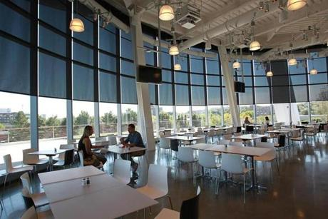 The cafeteria with wrap-around views of the Mass. Turnpike, downtown Boston, and Allston-Brighton.