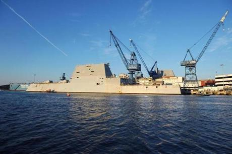 The first of three Zumwalt-class destroyers nears completion in this at Bath Iron Works in Bath, Maine.