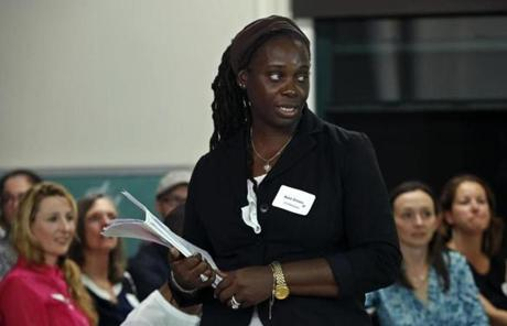 Budding entrepreneur Rose Green told the Fairmount Innovation Lab panel that her business, Dare 2 Dream, a track club in Jamaica, aims to aid women.