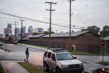 The downtown's skyline can be seen from a housing complex in East Nashville.