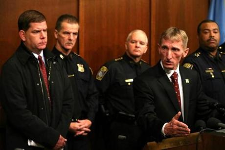 Boston Police Commissioner William Evans spoke about security during a news conference.