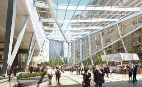 100 Federal St Tower May Get New Enclosed Plaza The Boston Globe
