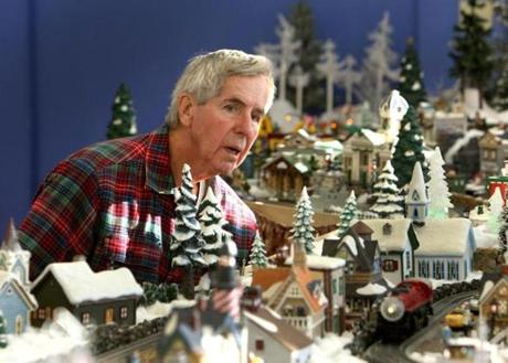 Bill Meagher, 77, of Needham has been working since August to create a miniature metropolis of holiday villages.