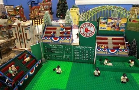 Lego Fenway Park in the Snow Village. Meagher's installation this year has more than doubled in size compared to his creation last year.