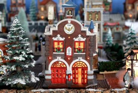A fire station in the Snow Village at the Massachusetts Horticultural Society's Elm Bank center.