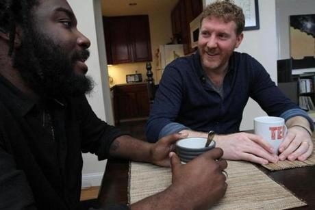 """People sort of assume this was my idea by default, but it was his. I said, ""You know what, I trust you."" And we got at it,"" said Jason Reynolds (left), on deciding to coauthor ""All American Boys"" with Brendan Kiely."
