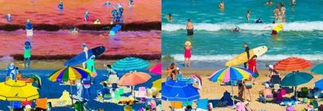 "Ellen Waitzkin's photo collage from her ""At the Beach"" show."