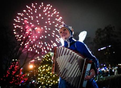 Performer Sophie Crafts played her accordion as fireworks went off.