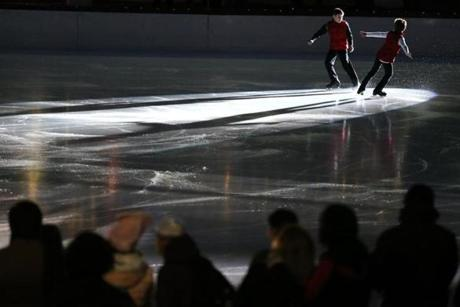 Members of the Skating Club of Boston warmed up before the Frog Pond Skating Spectacular.