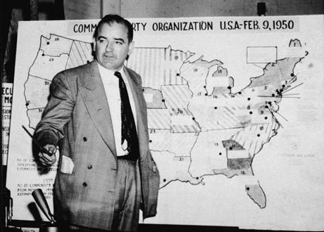 During 1954 hearings in Washington, D.C., aimed at members of the US Army, Joseph McCarthy, the junior senator from Wisconsin, uses a map purporting to chart communist activity in the United States.