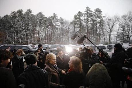 Democratic presidential candidate Hillary Clinton campaigned outside a polling place in Manchester, N.H.