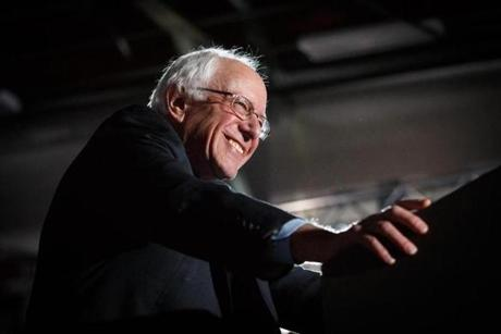 Democratic U.S. presidential candidate Bernie Sanders spoke after winning at his 2016 New Hampshire presidential primary night rally in Concord, N.H.