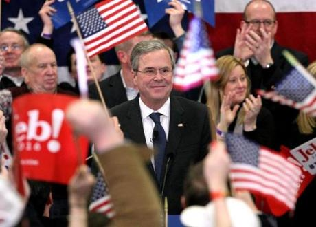 Jeb Bush spoke during his primary election night party at Manchester Community College in Manchester, N.H.