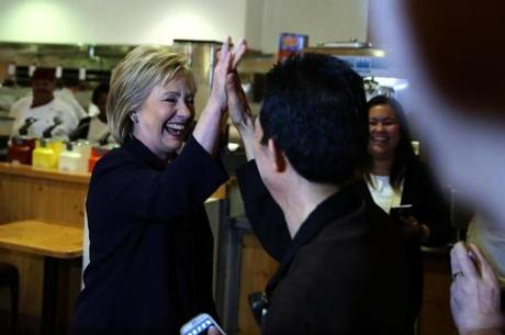 Democratic presidential candidate former Secretary of State Hillary Clinton (L) greeted service workers at Rio All-Suite Las Vegas Hotel and Casino on Thursday.
