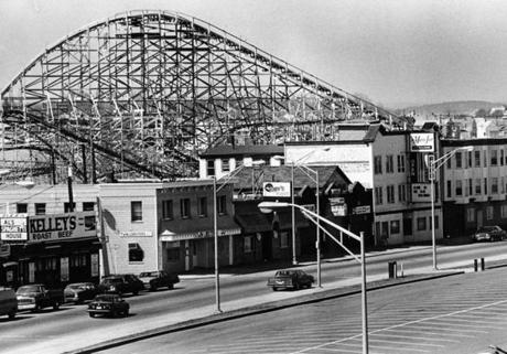 The Roller Coaster At Paragon Park Looming Over Bars And Restaurants Nantasket Beach On