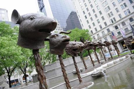 """Circle of Animals/Zodiac Heads,"" the first major public sculpture installation by contemporary Chinese artist Ai Weiwei, formally opened in May 2011 at New York's Pulitzer Fountain."