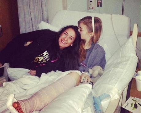 Perez Torres (left) and McGrath, during McGrath's hospitalization.
