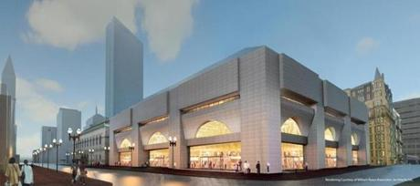 A rendering of planned improvements to the Boston Public Library's Johnson Building near Copley Square.
