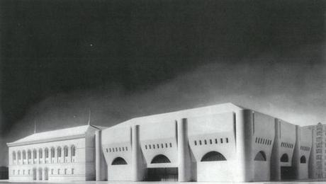 A model of the Boston Public Library's first addition proposal from Philip Johnson.