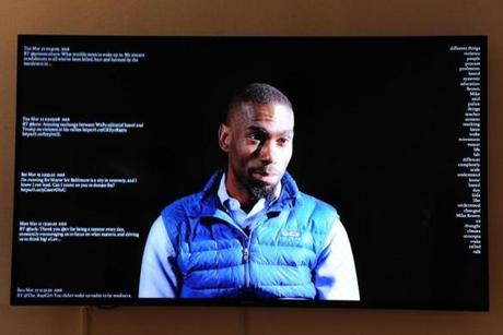 DeRay McKesson, a Bowdoin College graduate and Black Lives Matter activist, is featured in one of the works by R. Luke DuBois at Bowdoin.