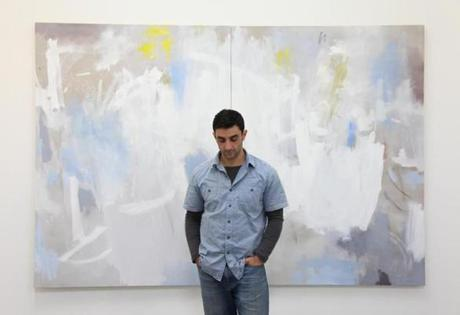 "Richard Hearns with his painting ""Ovid."""