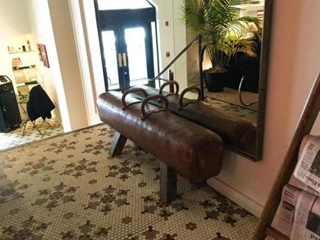 A pommel horse bench in the lobby