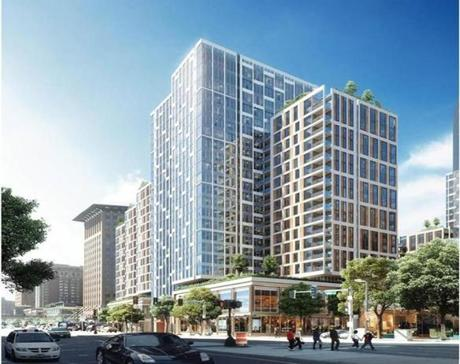 Rendering of the Cottonwood proposal in the Seaport District. REPORTER: Tim Logan. 13BRA