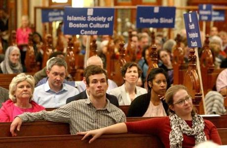 A crowd filled Old South Church for the Greater Boston Interfaith Organization's meeting Tuesday to hear the state's top judge press for reform.