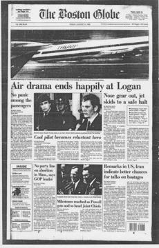 The front page of The Boston Globe after the August 1989 incident.