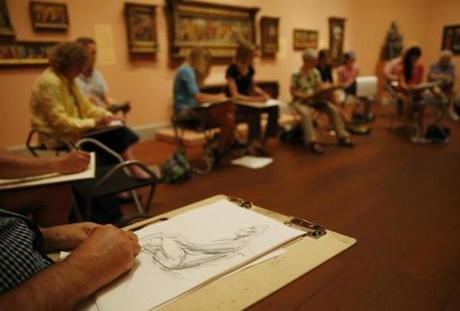 Randy LeSage, of Lancaster, sketched a live model during a nude figure drawing class at the Worcester Art Museum in Worcester last month.