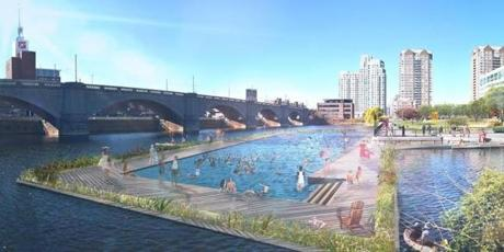 The Charles River Conservancy's proposed permanent swimming facility along the river.