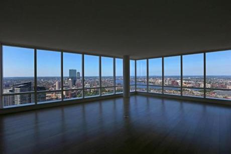 BOSTON, MA - 7/20/2016: A window view from a condo on the 51st floor....Millennium Tower Boston, downtown crossing at Summer and Washington streets.... an architecture review (David L Ryan/Globe Staff Photo) SECTION: ARTS TOPIC 17Tower