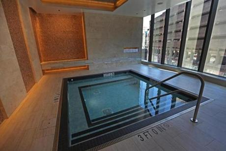BOSTON, MA - 7/20/2016: Spa pool on about the 8th floor at Millennium Tower Boston, downtown crossing at Summer and Washington streets.... an architecture review (David L Ryan/Globe Staff Photo) SECTION: ARTS TOPIC 17Tower