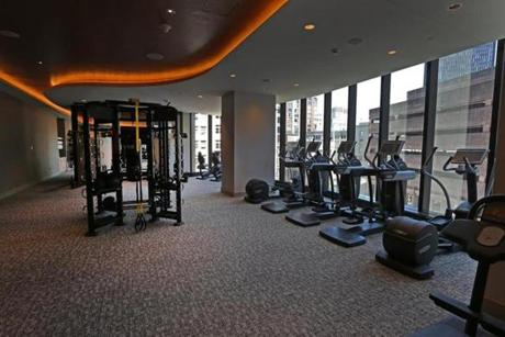 BOSTON, MA - 7/20/2016:The exercise room at Millennium Tower Boston, downtown crossing at Summer and Washington streets.... an architecture review (David L Ryan/Globe Staff Photo) SECTION: ARTS TOPIC 17Tower
