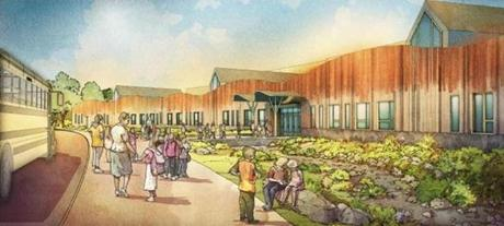 Drawings of the new Sandy Hook Elementary School, set to open in August.