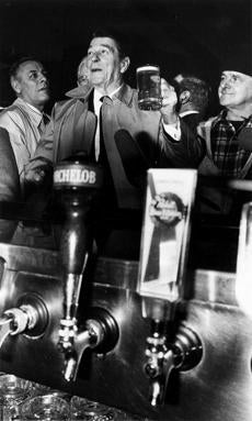 A photo of President Reagan at the Eire Pub.