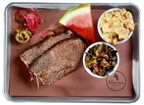 Cambridge, MA: 08-31-2016: Brisket with sweet and spicy coleslaw and mac and cheese at the Smoke Shop by Andy Husbands restaurant in Cambridge, Mass. August 31, 2016. Photo/John Blanding, Boston Globe staff story/Nestor Ramos, Food ( 14dining )