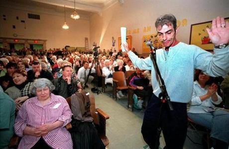 Brian R. Mahoney, shown at a South Boston community meeting in 2000, says he has sought support from developers for his civic group, the St. Vincent Lower End Neighborhood Association, but he denies ever receiving cash payments.