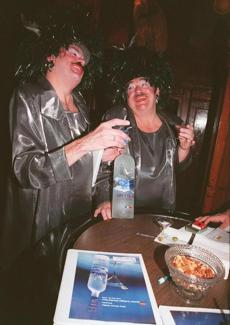 As the Hat Sisters, Dr. Gray (right) and Tim O'Connor and took part in the Boston Twilight Martini Tour in 1999.