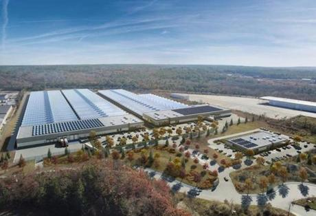 24freetown - A rendering of a 1 million-square-foot marijuana greenhouse and processing center AmeriCann Inc. hopes to build in Freetown. (AmeriCann Inc.)