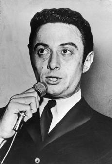 Comedian Lenny Bruce performing in the 1950s.
