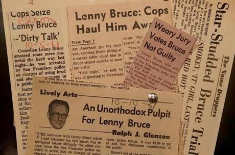 Old news clippings about Lenny Bruce are part of Brandeis University's archive of Bruce-related material.